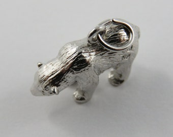 Large Polar Bear Sterling Silver Charm of Pendant.