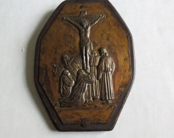 vintage metal relief, Jesus Christ on the cross, crucifix