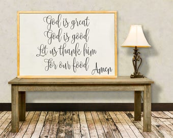 God Is Great God Is Good Wood Sign, Framed Sign, Dinner Prayer, Dining Room Wall Art Inspirational Sign, Kids Prayer Distressed Sign