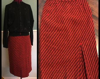 1950's 1960's Orangey Red And Black Striped Pencil Skirt Kick Pleat Triangle Stitch Detail M