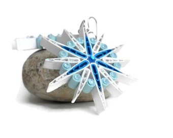 Snowflake earrings - Blue and white earrings - Quilling earrings - Paper quilling jewelry - Dangle unique earrings - Eco friendly earrings