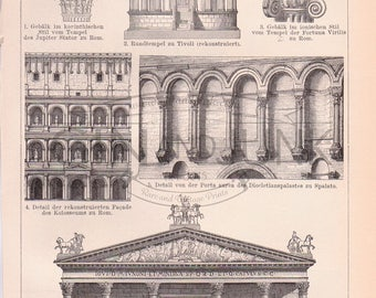 Antique Print of Ancient Roman Architecture and sculpture from 1890.