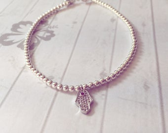 Sterling Silver Anklet/Ankle Bracelet with Hamsa/Hand of Fatima Charm, Yoga Jewellery, Beach Jewellery, Surf Style