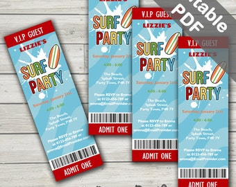 Surf Party Invitations. Editable PDF. Printable. Instant Download.
