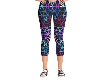 Watercolor Triangles Leggings - Women's Active Wear Pants - Zen Fun Yoga Pants - Sizes XS to XL - Polyester/Spandex - Gift Idea for Her