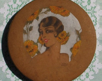 French Vintage Hand Painted Chocolate Box from Confiseur J Vernet of Bezier.  Original Signed 1920s Candy Box.