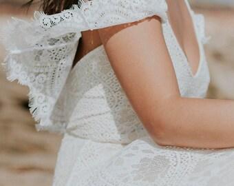 Flutter Sleeve Wedding Dress, Boho Wedding Dress, Hippie Wedding Dress, Romantic Wedding Dress, Vintage Wedding Dress - Paris Dress