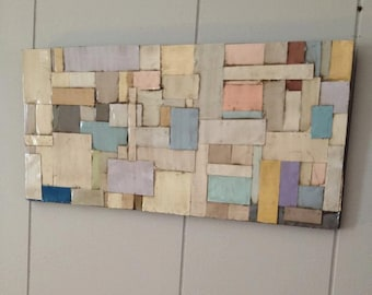 "Paint Chip Wall Art, Modern Rustic Wall Art, Abstract Wall Art,""Claudia"""