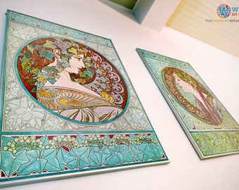 Alphonso Mucha - Laurel & Ivy Poster - Set of Two - Digitally restored  print / art / poster - Art Nouveau