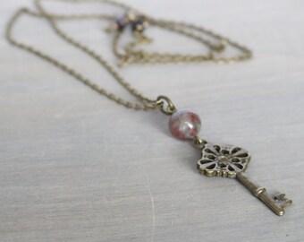 Key Pendant Necklace - Kashgar Garnet Necklace, Long Pendant Necklace, Gemstone Necklace, Vintage Inspired, Boho Necklace, Simple Necklace