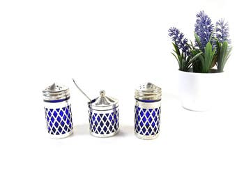 Salt and Pepper Shakers - Cobalt Blue Glass - Silver Plate Salt and Pepper Shaker Set - Blue Glass - Dinner Table Accessories