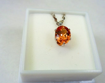 2.ct. Golden Citrine 9 x 7mm. Oval Silver Pendant.