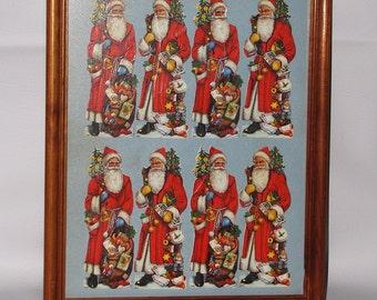 Antique Paper Cut Out, Die cut German Paper Doll, Framed Santa Claus Paper Cut Out