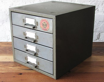 Vintage 4 Drawer Industrial Mini Storage Organizer with Compartments Dividers by Union Chests Utility Cabinet Model #410