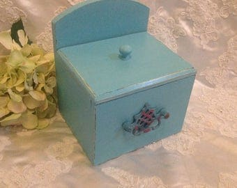 Recipe Box Vintage Wooden Hand Painted Turquoise Shabby Chic Distressed Recipe Card Storage