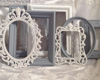 Picture Frame Set of 8-12 Shabby Chic Ornate Mix Custom Colors And Sizes Hand Painted Vintage Frames Upcycled