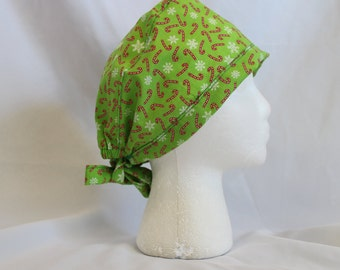 Green Candy Canes and Snowflakes Surgical Scrub Cap Chemo Dental Hat