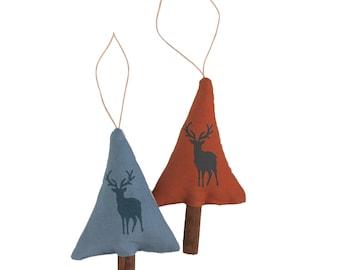 Set of 2 scented cinnamon tree decorations, hand printed Irish linen, stag pattern