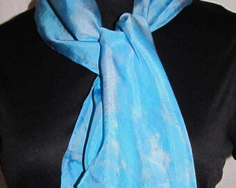 Turquoise silk scarf 8x54