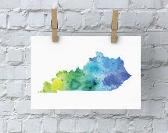 Kentucky Watercolor Map - Giclée Print of Hand Painted Original Art - 5 Colors to Choose From