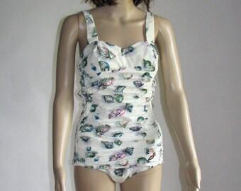 One piece SWIMSUIT retro Jantzen SWIMWEAR pattern Vintage womens body suit made in England 50s swimsuit