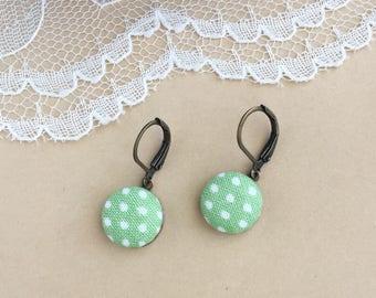 Sage Green And White Polka Dot Fabric Earrings, Fabric Earrings, Lever Back Earrings, Dangle Earrings, Button Earrings, Simple Earrings