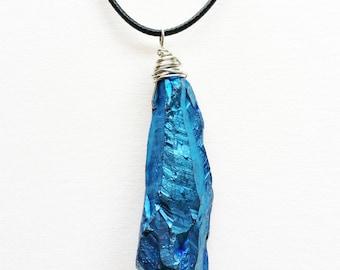 Blue Titanium Quartz Necklace - crystal necklace, crystal jewelry, gemstone necklace, gemstone jewelry, titanium quartz pendant
