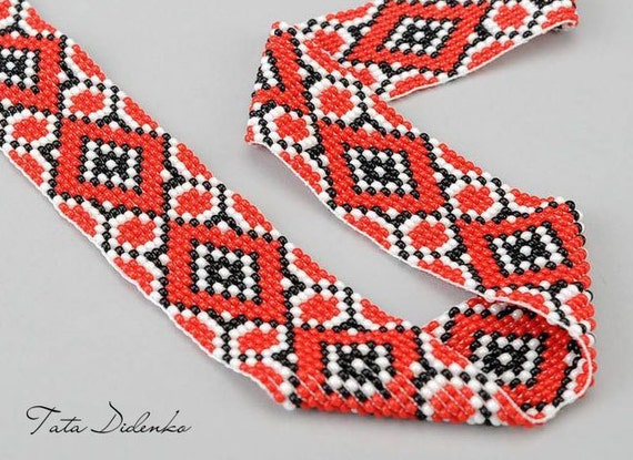 Ethnic Necklace Gerdan Beaded Jewelry Ukrainian Necklace Perfect Birthday Gift Necklace to Your Embroidery Fashion Accessory