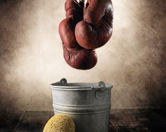 Boxing Gloves & Water Pale,Still Life Photography,Vintage, Home Decor, Wall Art,Sports,Conceptual,Rustic