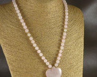 Rose Quartz Beaded Necklace, Vintage Rose Quartz Beaded Necklace With 14K Gold Accents, Rose Quartz Heart Necklace, Pink VW
