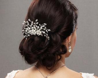 Bridal hair Comb with Rhnestones, Crystas and Pearls, Wedding Headpiece, Rose gold Hair Piece, Rhinestone Hair Comb, Bridal Fascinator