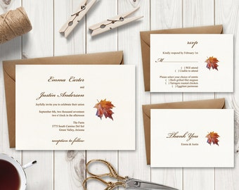 "Wedding Invitation Set ""Fall In Love"", Brown. DIY Watercolor Printable Templates - Invite, RSVP Card & Thank You Note. Instant Download."