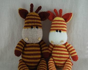 knit giraffe soft toy hand knitted knit crochet cute cuddly photo prop gift baby shower nursery decor stuffed animal kids Waldorf new baby