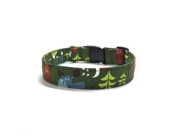 Forest Green Woodland dog collar, moose dog collar, winter dog collar, christmas dog collar