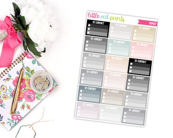 Neutral To Contact Checklist Planner Stickers for the Erin Condren Life Planner, Checklist Sticker - [P0407]