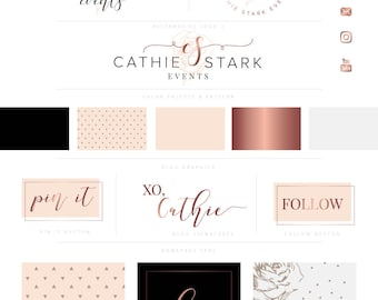 DELUXE Branding Kit, Branding Package, Premade Logo, Watercolor Logo, Rose Gold Logo, Logo Design, Industrial Logo, Photography Logo