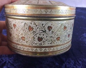 Beautiful Cream Gold Vintage Tin Canister Elegant Vintage Tin Fancy Cream Gold Tin Box Ornate Tin Canister
