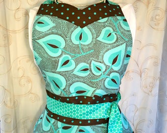 Women's Apron, Turquoise, Brown, Leaves, Feathers, Retro, Polka Dots