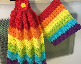 Crochet Rainbow Hand Towel and Dishcloth, Rainbow Linens