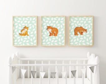 Three Bears Print | Three Woodland Bears, Three Nursery Bears, Nursery Bear Family, Nursery Bundle, Animal Art Bundle, Woodland Bundle