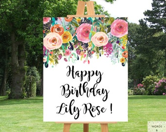 Birthday Banner Personalized, Girl Birthday Party, Birthday Decor, Custom Birthday Banner, Birthday Party Supplies, Floral, Printable