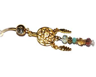 Piercing stainless steel navel-piercing dreamcatcher-piercing gold-Bohemian crystal