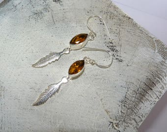 Ethnic earrings in silver and citrine-jewels pen-natural stones - print single money-tribal-play pen