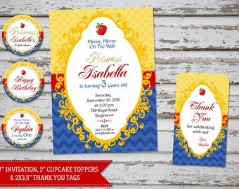 Snow White invitation, Snow White Thank You Card, Snow White party, Snow White Birthday Invite, Snow White favor tags, Snow White toppers