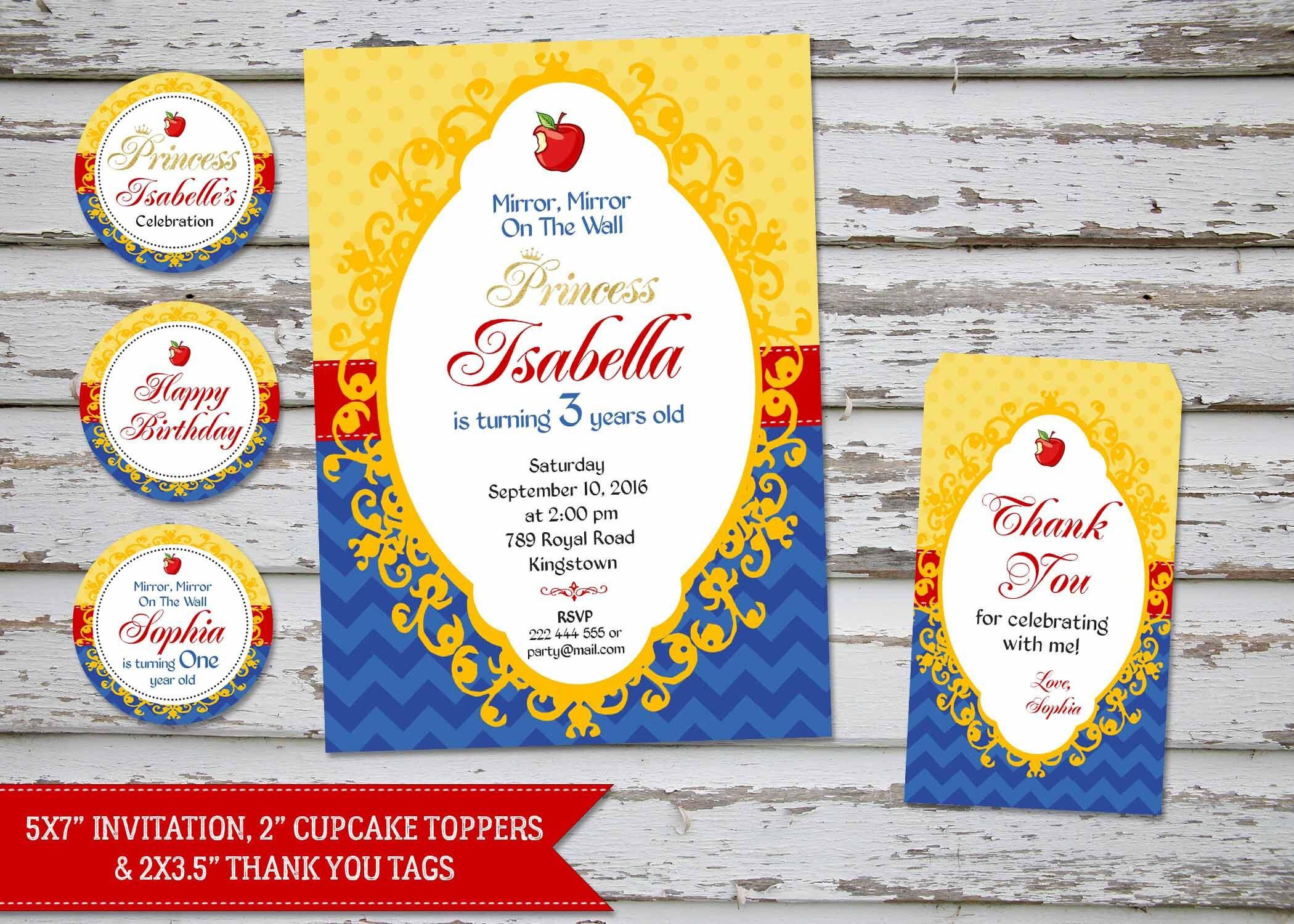 Snow White invitation Snow White Thank You Card Snow White – Snow White Party Invitations