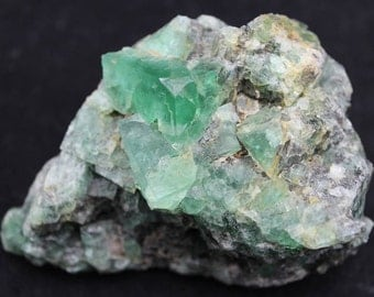 Green Fluorite Crystal Cluster on Matrix Mineral Specimen FLUG18