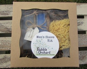 Men's Shave Kit, Mens Shaving Kit,  Shave Soap, Soap Dish, Natural Sea Sponge, FREE SHIPPING