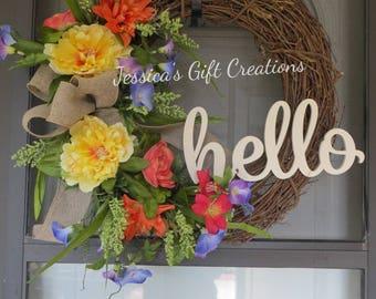 Made to Order Hello Grapevine Wreath/Front Door Wreath/Spring/Summer/Year Round/Monogram Wreath/Burlap Decor/Peonies Wreath/Farmhouse Wreath