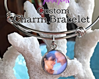 Personalized Photo Bangle Bracelet, Custom Jewelry, Family Jewelry, Picture Bracelet, Photo Charms, Picture Memory, Gift For Girlfriend