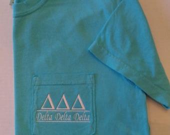 Greek Shirt, Delta Delta Delta, Tri Delta, TriDelta, Greek Letter shirt, Pocket T Shirt, Monogrammed Pocket T, Personalized T Shirt